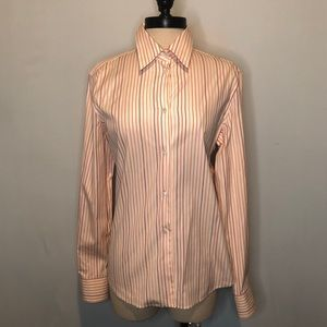 LORO PIANA Stripe Button Down Blouse Shirt 46 (12)